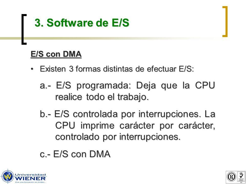3. Software de E/S E/S con DMA Existen 3 formas distintas de efectuar E/S:Existen 3 formas distintas de efectuar E/S: a.- E/S programada: Deja que la