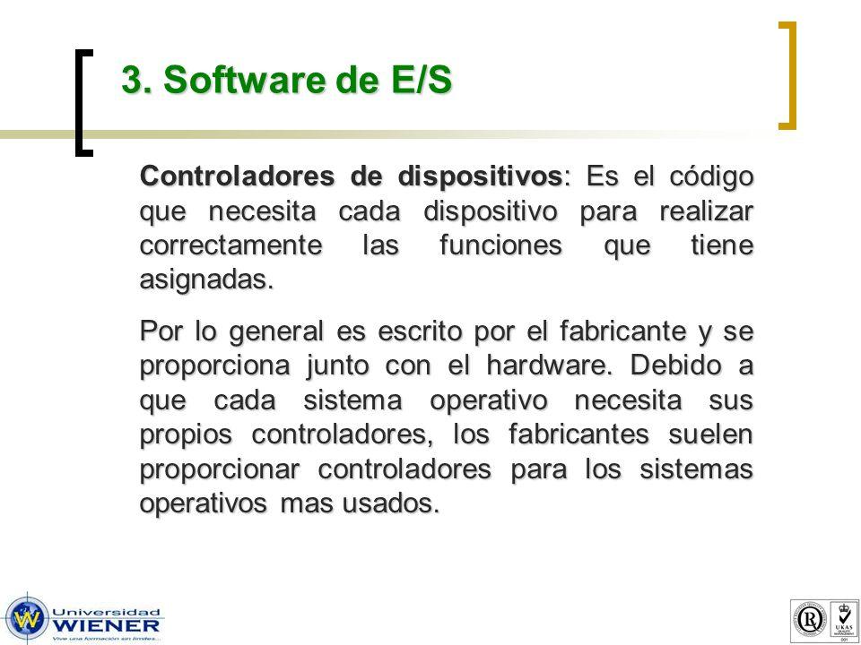 3. Software de E/S Controladores de dispositivos: Es el código que necesita cada dispositivo para realizar correctamente las funciones que tiene asign