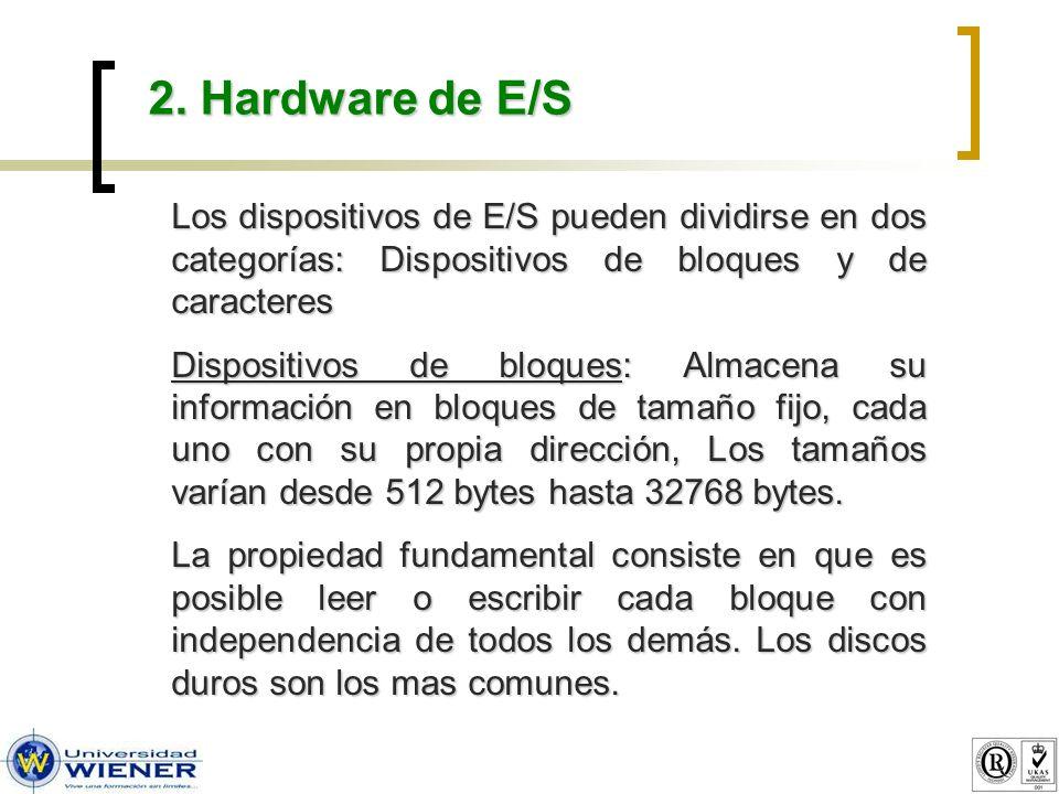 2. Hardware de E/S Los dispositivos de E/S pueden dividirse en dos categorías: Dispositivos de bloques y de caracteres Dispositivos de bloques: Almace