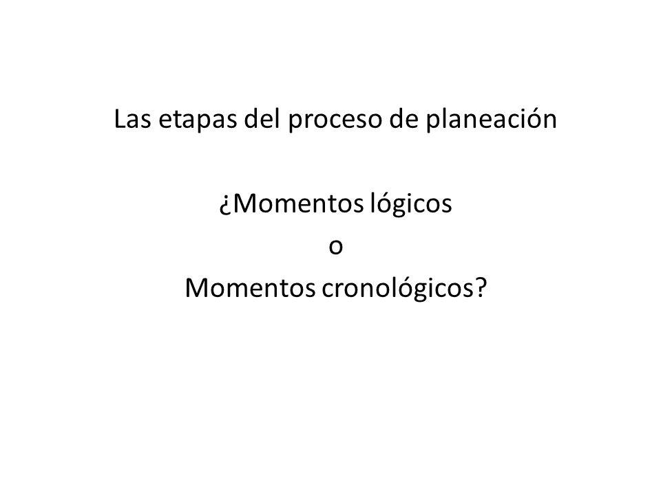Las etapas del proceso de planeación ¿Momentos lógicos o Momentos cronológicos?