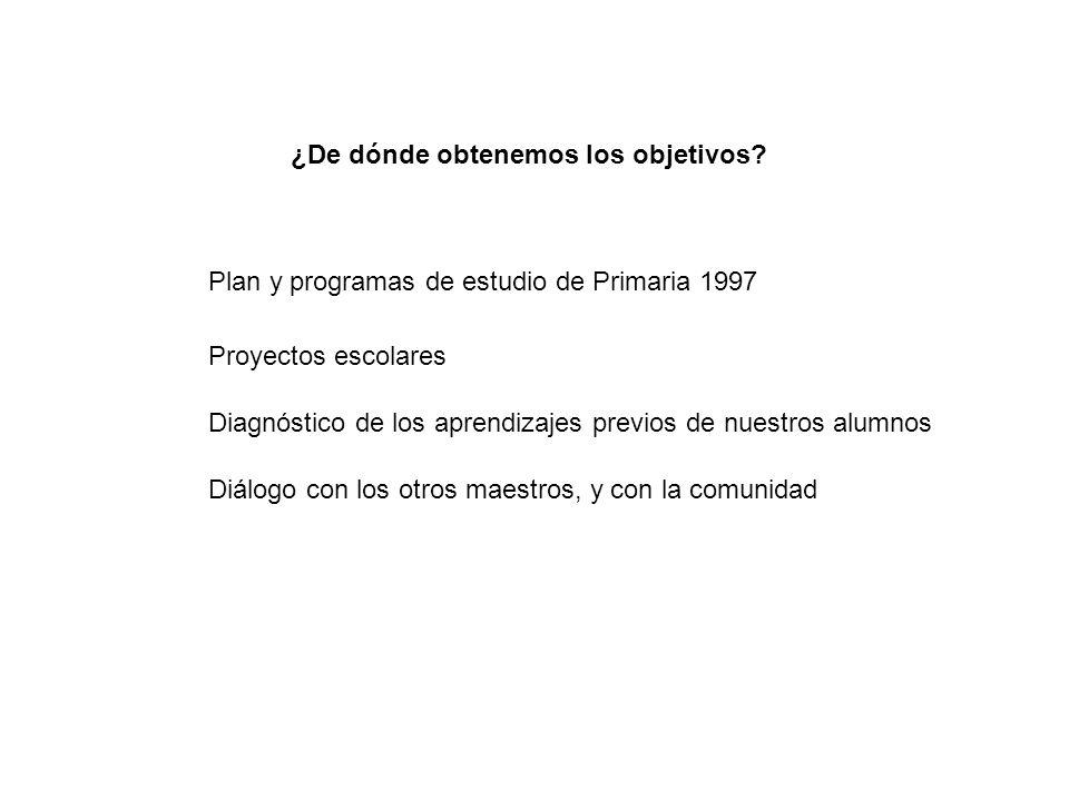 ¿De dónde obtenemos los objetivos? Plan y programas de estudio de Primaria 1997 Proyectos escolares Diagnóstico de los aprendizajes previos de nuestro