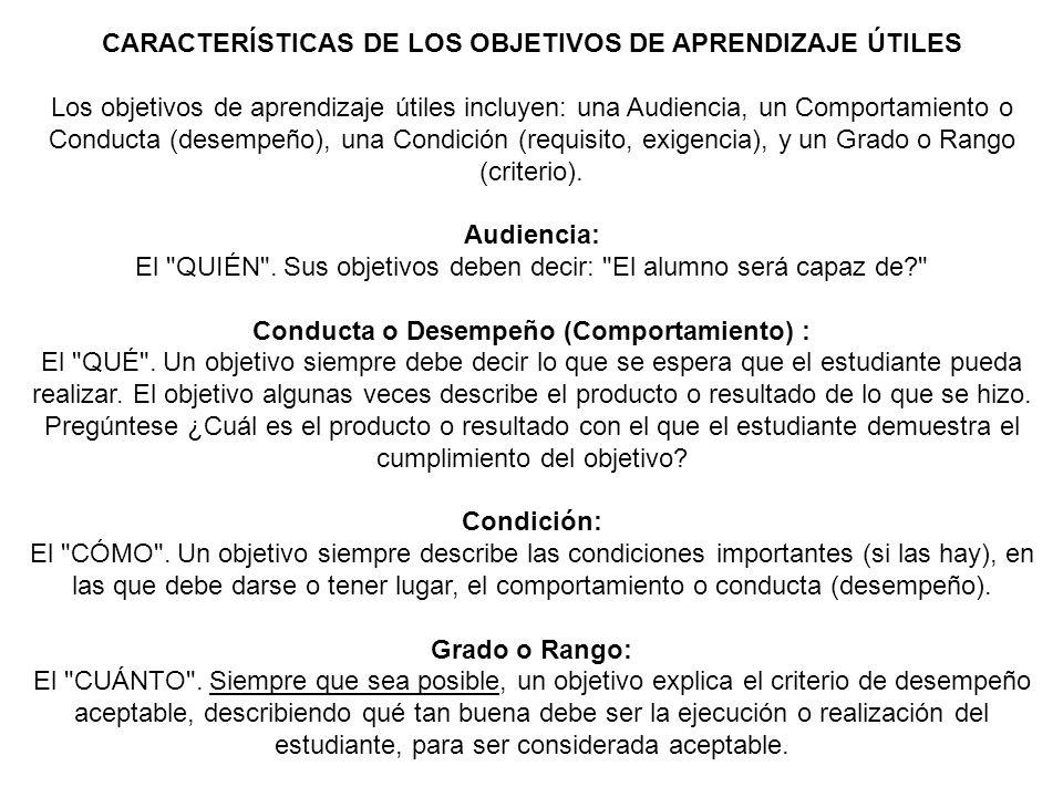 CARACTERÍSTICAS DE LOS OBJETIVOS DE APRENDIZAJE ÚTILES Los objetivos de aprendizaje útiles incluyen: una Audiencia, un Comportamiento o Conducta (dese
