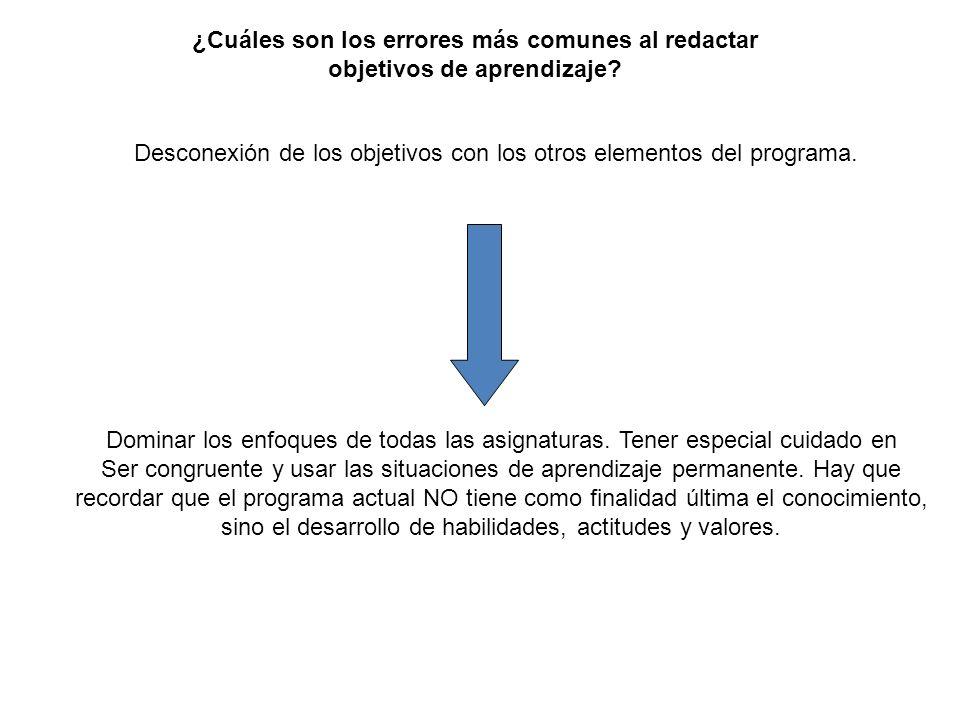 Desconexión de los objetivos con los otros elementos del programa. ¿Cuáles son los errores más comunes al redactar objetivos de aprendizaje? Dominar l