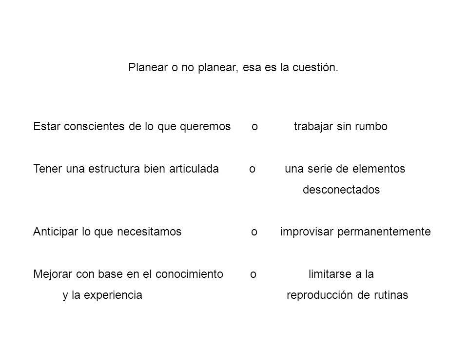 Planear o no planear, esa es la cuestión. Estar conscientes de lo que queremos o trabajar sin rumbo Tener una estructura bien articulada o una serie d