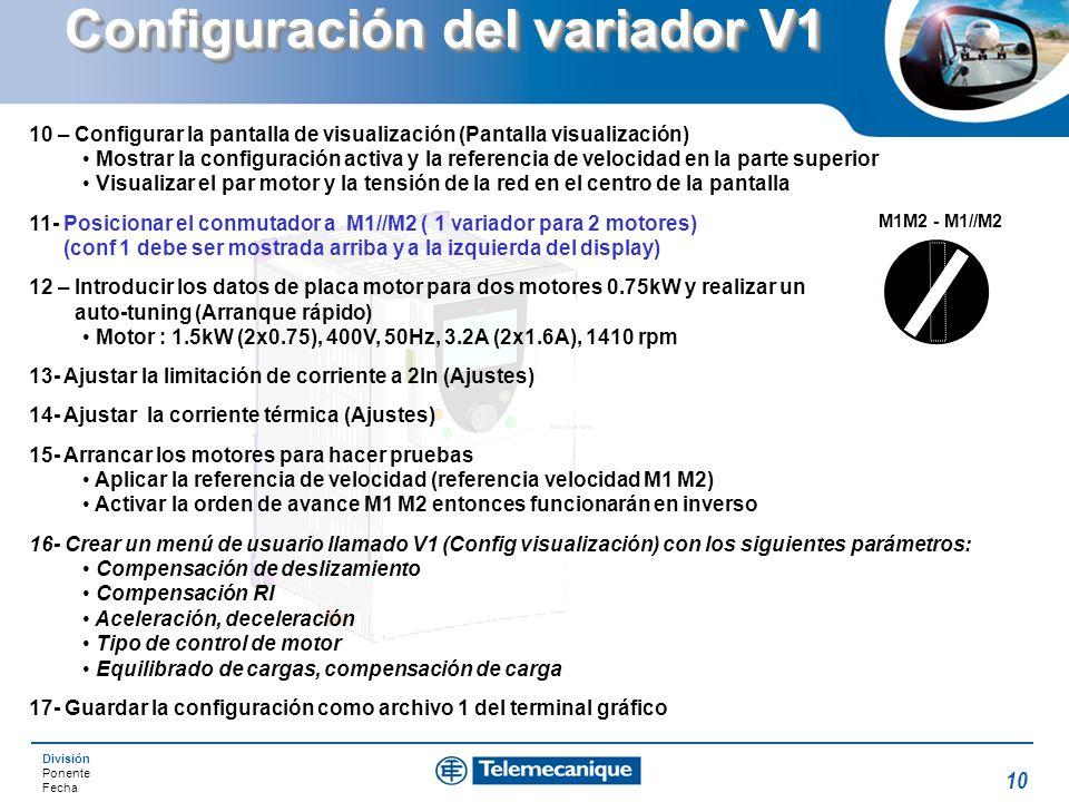 División Ponente Fecha 10 Configuración del variador V1 10 – Configurar la pantalla de visualización (Pantalla visualización) Mostrar la configuración
