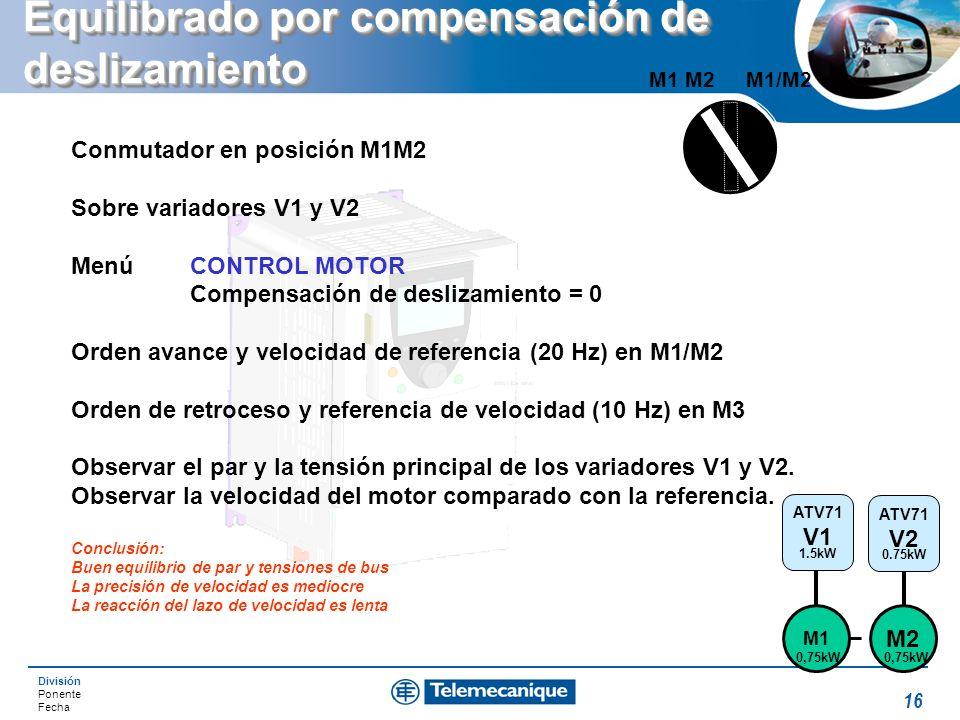 División Ponente Fecha 16 Equilibrado por compensación de deslizamiento M1/M2M1 M2 Conmutador en posición M1M2 Sobre variadores V1 y V2 Menú CONTROL M