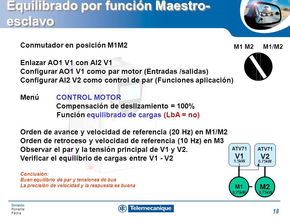 División Ponente Fecha 18 Equilibrado por función Maestro- esclavo Conmutador en posición M1M2 Enlazar AO1 V1 con AI2 V1 Configurar AO1 V1 como par mo