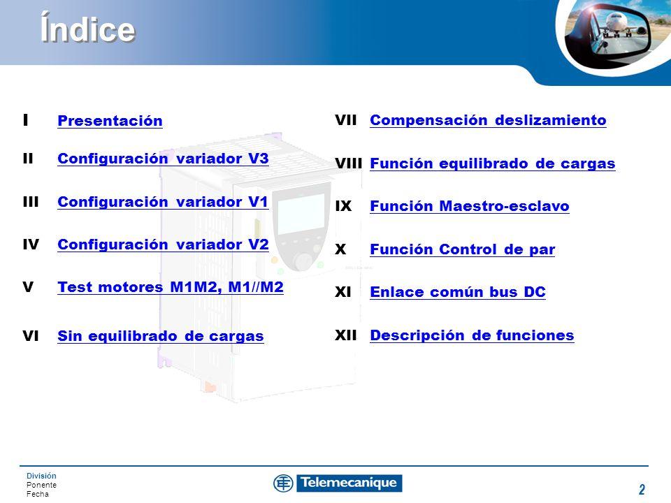 División Ponente Fecha 2 Índice I Presentación Presentación IIConfiguración variador V3Configuración variador V3 IIIConfiguración variador V1Configura