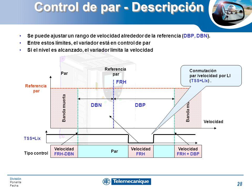 División Ponente Fecha 28 Banda muerta Control de par - Descripción Se puede ajustar un rango de velocidad alrededor de la referencia (DBP, DBN). Entr