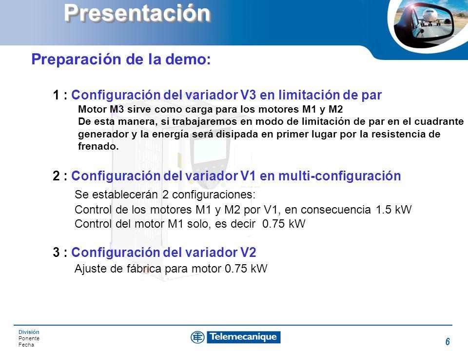 División Ponente Fecha 6PresentaciónPresentación Preparación de la demo: 1 : Configuración del variador V3 en limitación de par Motor M3 sirve como ca