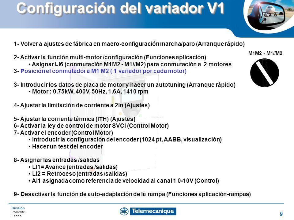 División Ponente Fecha 9 Configuración del variador V1 1- Volver a ajustes de fábrica en macro-configuración marcha/paro (Arranque rápido) 2- Activar