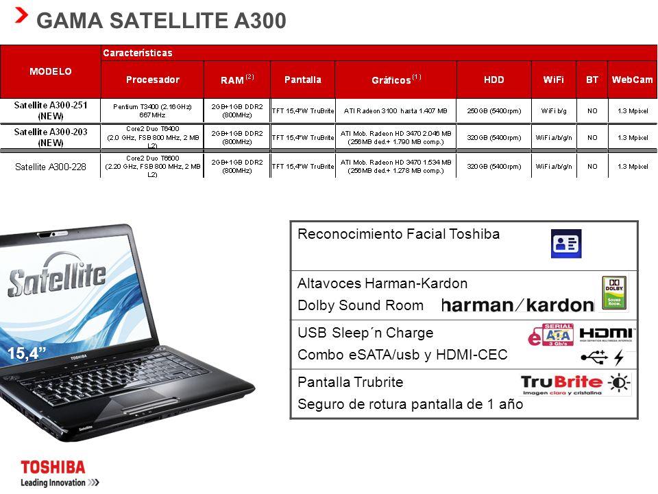 GAMA SATELLITE L300 15,4 Reconocimiento Facial Toshiba Webcam con microfono intergrado Altavoces estéreo Diseño compacto con las maximas prestaciones