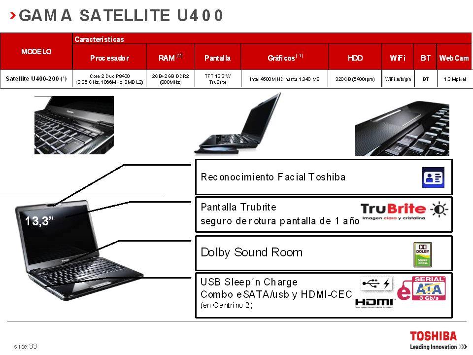 GAMA SATELLITE A300 15,4 Reconocimiento Facial Toshiba Altavoces Harman-Kardon Dolby Sound Room USB Sleep´n Charge Combo eSATA/usb y HDMI-CEC Pantalla