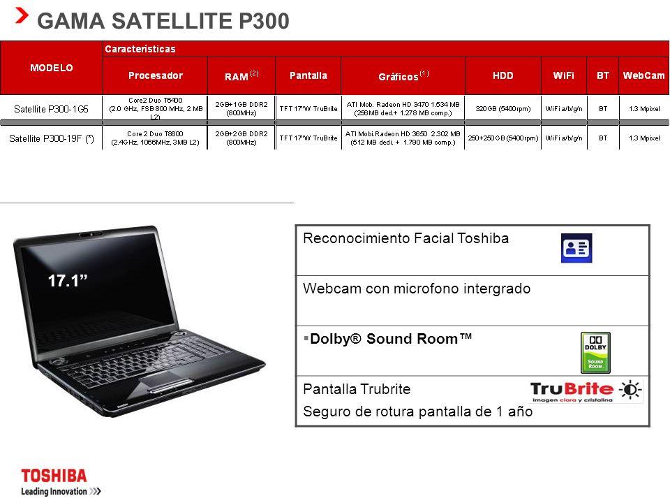 SATELLITE A350 Pantalla panorámica de 16 con relación de aspecto de 16:9 y resolución HD Pantalla Trubrite seguro de rotura pantalla de 1 año Procesad