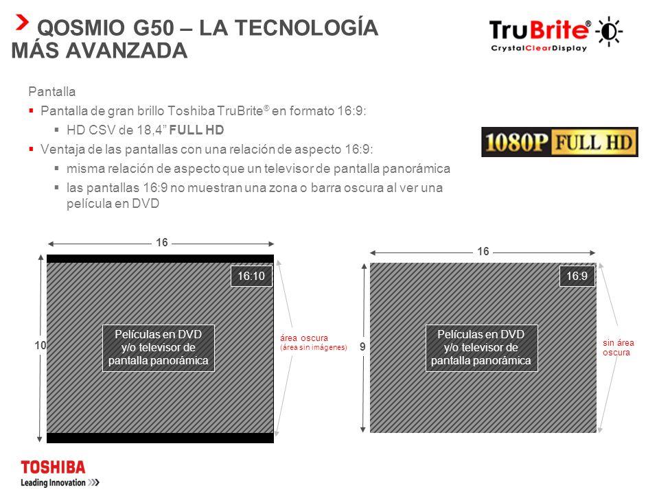 QOSMIO G50 – ENTRETENIMIENTO FÁCIL Altavoces Harman Kardon ® El Qosmio G50 incluye dos altavoces estéreo Harman Kardon ® integrados y un subwoofer adi