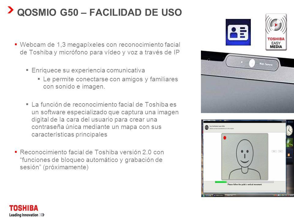 QOSMIO G50 – FÁCIL CONECTIVIDAD LAN inalámbrica con 802.11a/b/g/Draft-N* Este estándar de red inalámbrica de última generación ofrece velocidades de d
