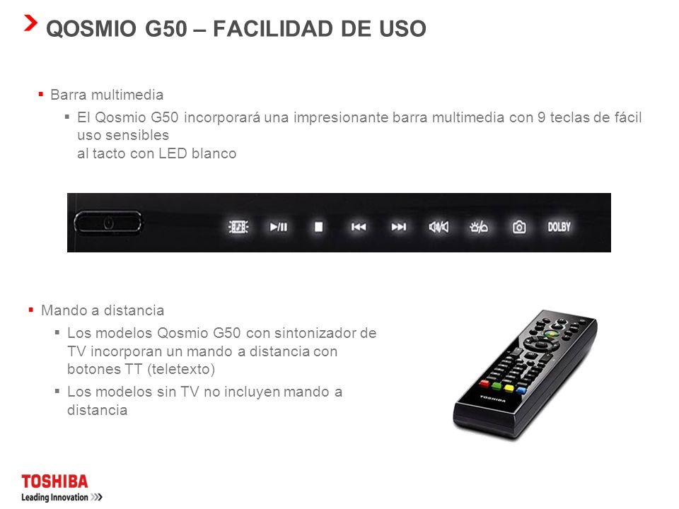 QOSMIO G50 – FACILIDAD DE USO Webcam de 1,3 megapíxeles con reconocimiento facial de Toshiba y micrófono para vídeo y voz a través de IP Enriquece su