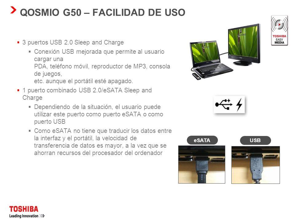 QOSMIO G50 – FACILIDAD DE USO Barra multimedia El Qosmio G50 incorporará una impresionante barra multimedia con 9 teclas de fácil uso sensibles al tac