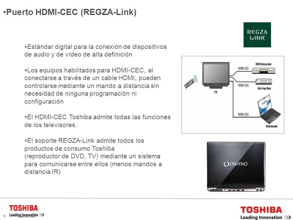 Diciembre 2008 Estándar digital para la conexión de dispositivos de audio y de vídeo de alta definición Los equipos habilitados para HDMI-CEC, al conectarse a través de un cable HDMI, pueden controlarse mediante un mando a distancia sin necesidad de ninguna programación ni configuración El HDMI-CEC Toshiba admite todas las funciones de los televisores.