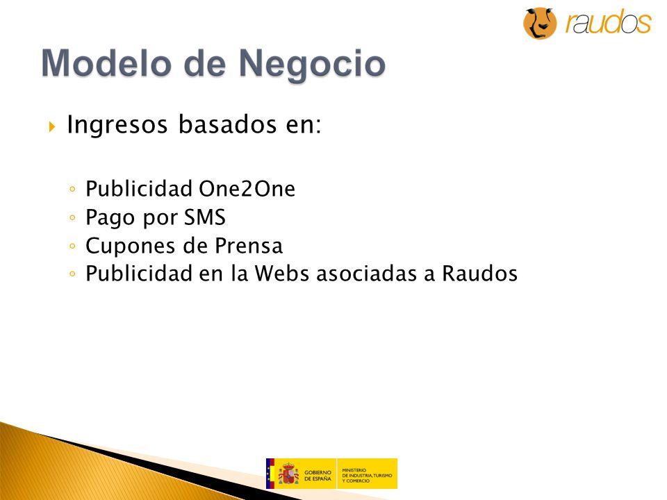 Ingresos basados en: Publicidad One2One Pago por SMS Cupones de Prensa Publicidad en la Webs asociadas a Raudos