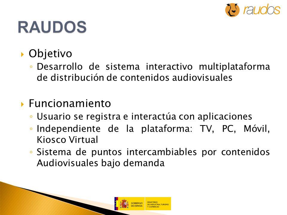 Objetivo Desarrollo de sistema interactivo multiplataforma de distribución de contenidos audiovisuales Funcionamiento Usuario se registra e interactúa con aplicaciones Independiente de la plataforma: TV, PC, Móvil, Kiosco Virtual Sistema de puntos intercambiables por contenidos Audiovisuales bajo demanda
