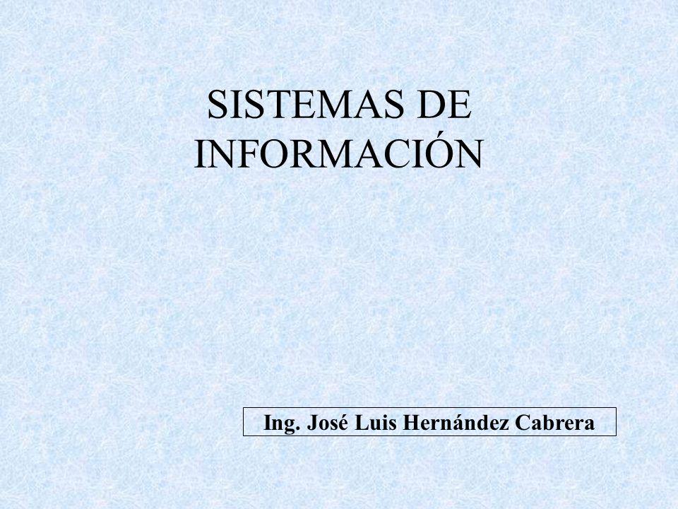 SISTEMAS DE INFORMACIÓN Ing. José Luis Hernández Cabrera