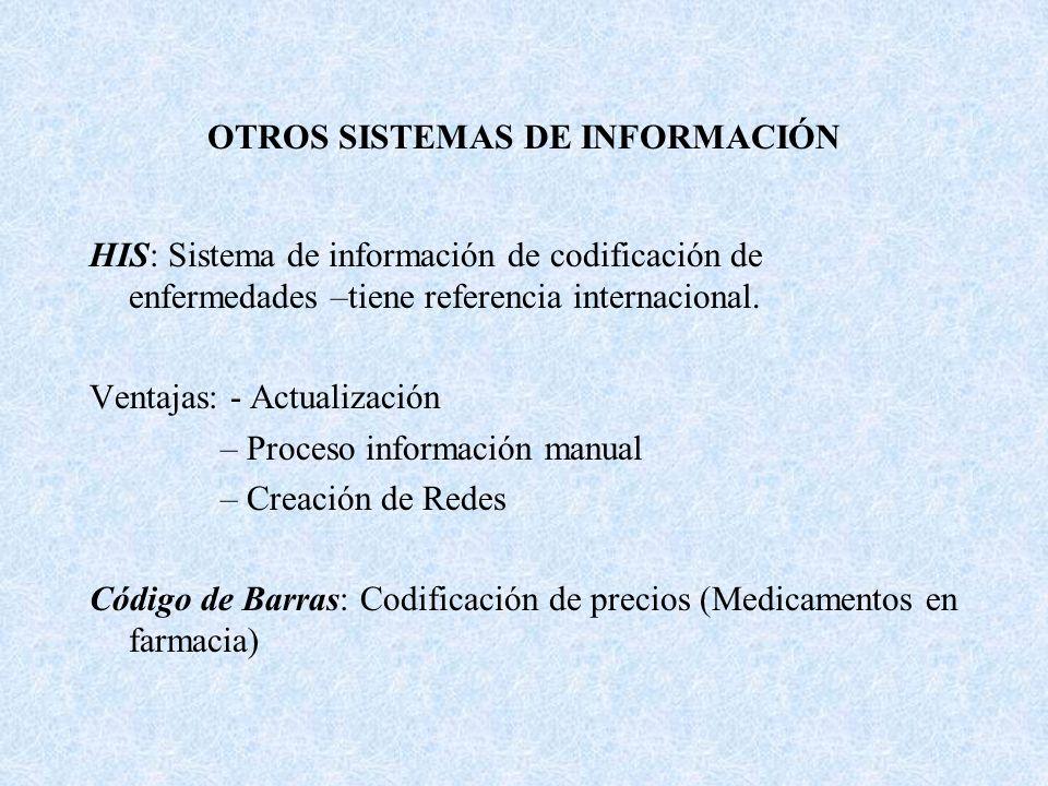 OTROS SISTEMAS DE INFORMACIÓN HIS: Sistema de información de codificación de enfermedades –tiene referencia internacional. Ventajas: - Actualización –