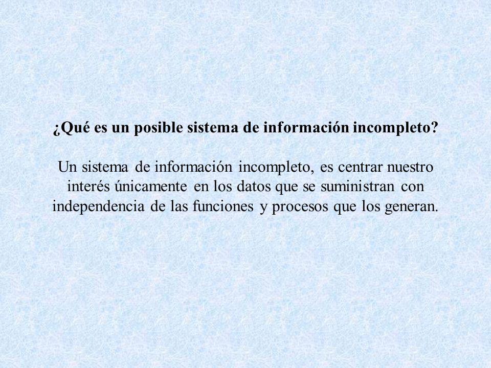 ¿Qué es un posible sistema de información incompleto? Un sistema de información incompleto, es centrar nuestro interés únicamente en los datos que se