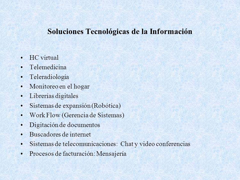 Soluciones Tecnológicas de la Información HC virtual Telemedicina Teleradiología Monitoreo en el hogar Librerías digitales Sistemas de expansión (Robó