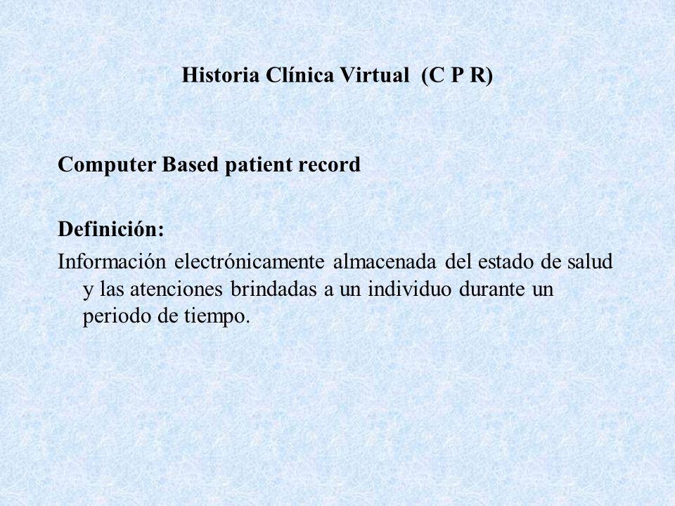 Historia Clínica Virtual (C P R) Computer Based patient record Definición: Información electrónicamente almacenada del estado de salud y las atencione