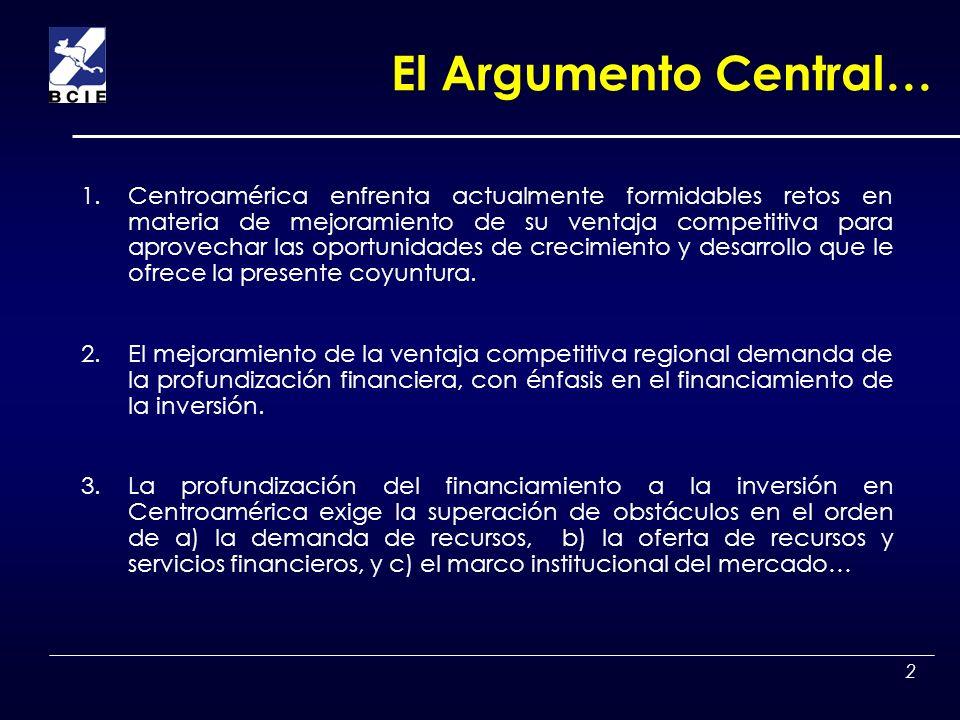 3 TEMAS 1.Oportunidades, Ventaja Competitiva, Financiamiento a la inversion y rasgos del Mercado Financiero en Centroamérica 2.Obstáculos de Oferta de Recursos Financieros.