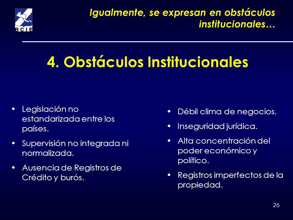 26 4. Obstáculos Institucionales Igualmente, se expresan en obstáculos institucionales… Legislación no estandarizada entre los países. Supervisión no