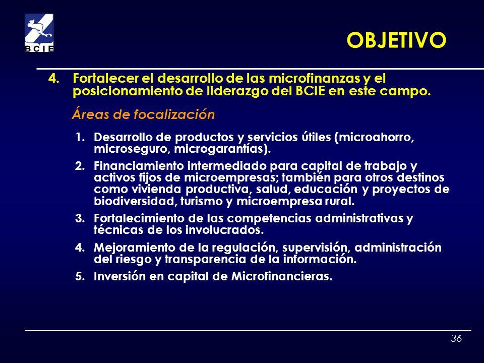 36 1.Desarrollo de productos y servicios útiles (microahorro, microseguro, microgarantías). 2.Financiamiento intermediado para capital de trabajo y ac