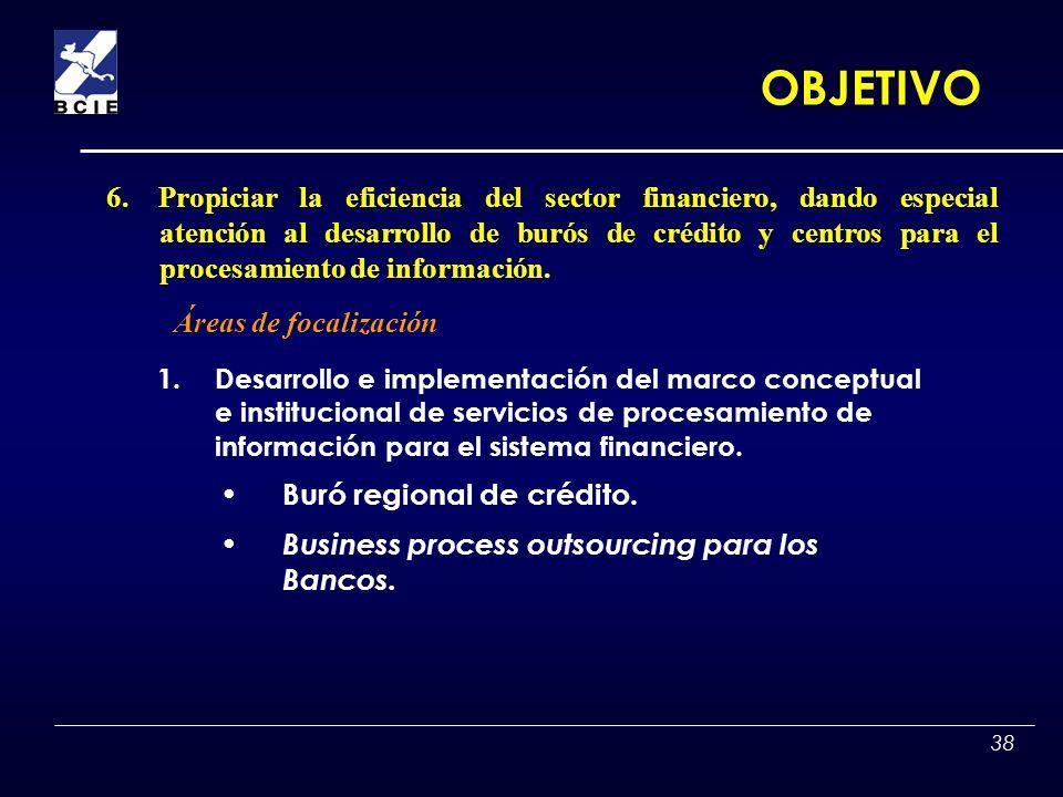 38 1.Desarrollo e implementación del marco conceptual e institucional de servicios de procesamiento de información para el sistema financiero. Buró re