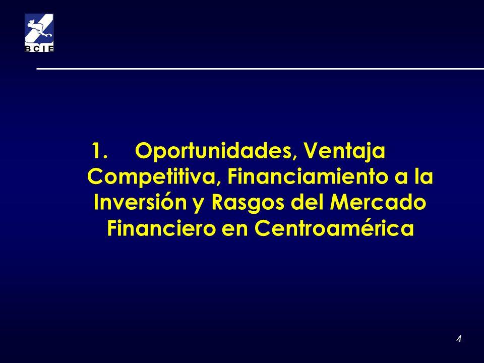 4 1.Oportunidades, Ventaja Competitiva, Financiamiento a la Inversión y Rasgos del Mercado Financiero en Centroamérica