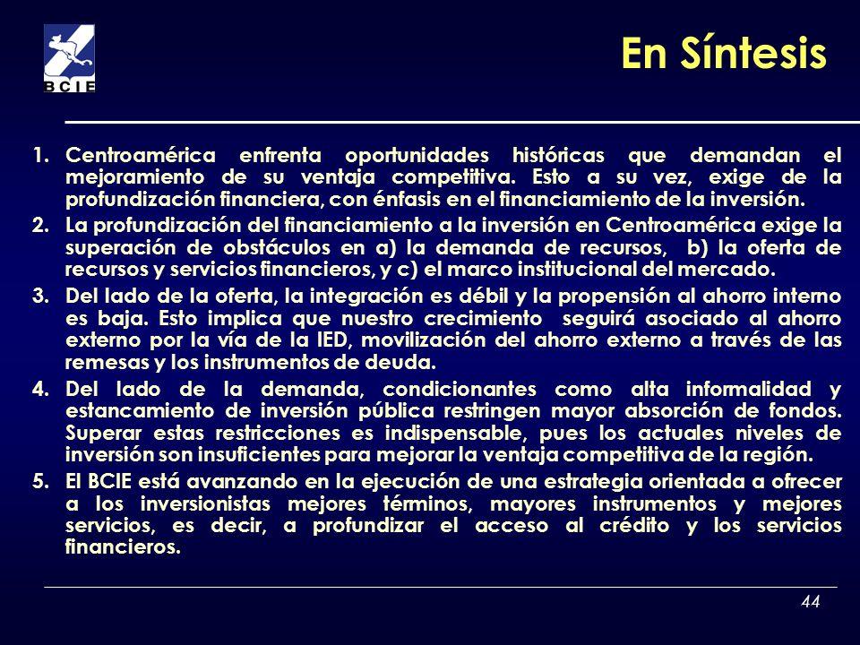 44 En Síntesis 1.Centroamérica enfrenta oportunidades históricas que demandan el mejoramiento de su ventaja competitiva. Esto a su vez, exige de la pr