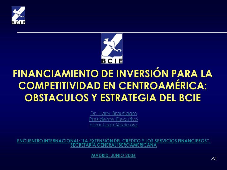 45 FINANCIAMIENTO DE INVERSIÓN PARA LA COMPETITIVIDAD EN CENTROAMÉRICA: OBSTACULOS Y ESTRATEGIA DEL BCIE Dr. Harry Brautigam Presidente Ejecutivo hbra