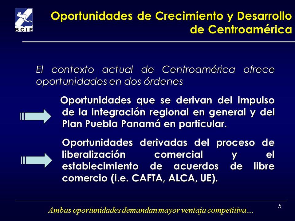5 Oportunidades de Crecimiento y Desarrollo de Centroamérica El contexto actual de Centroamérica ofrece oportunidades en dos órdenes Oportunidades que