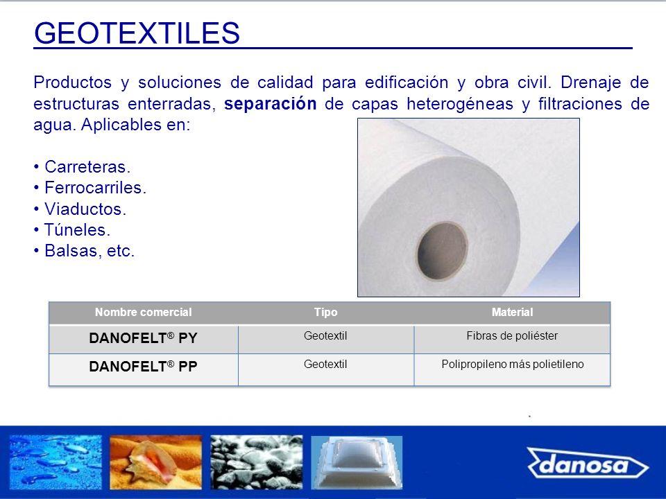 GEOTEXTILES Productos y soluciones de calidad para edificación y obra civil. Drenaje de estructuras enterradas, separación de capas heterogéneas y fil