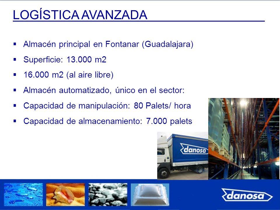 LOGÍSTICA AVANZADA Almacén principal en Fontanar (Guadalajara) Superficie: 13.000 m2 16.000 m2 (al aire libre) Almacén automatizado, único en el secto