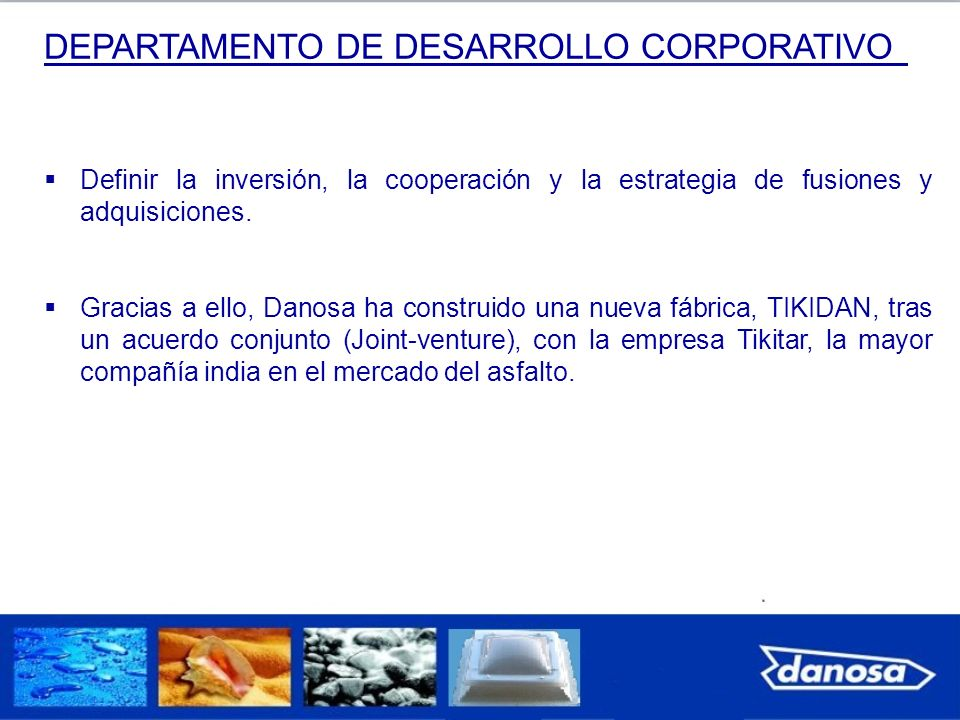 DEPARTAMENTO DE DESARROLLO CORPORATIVO Definir la inversión, la cooperación y la estrategia de fusiones y adquisiciones. Gracias a ello, Danosa ha con