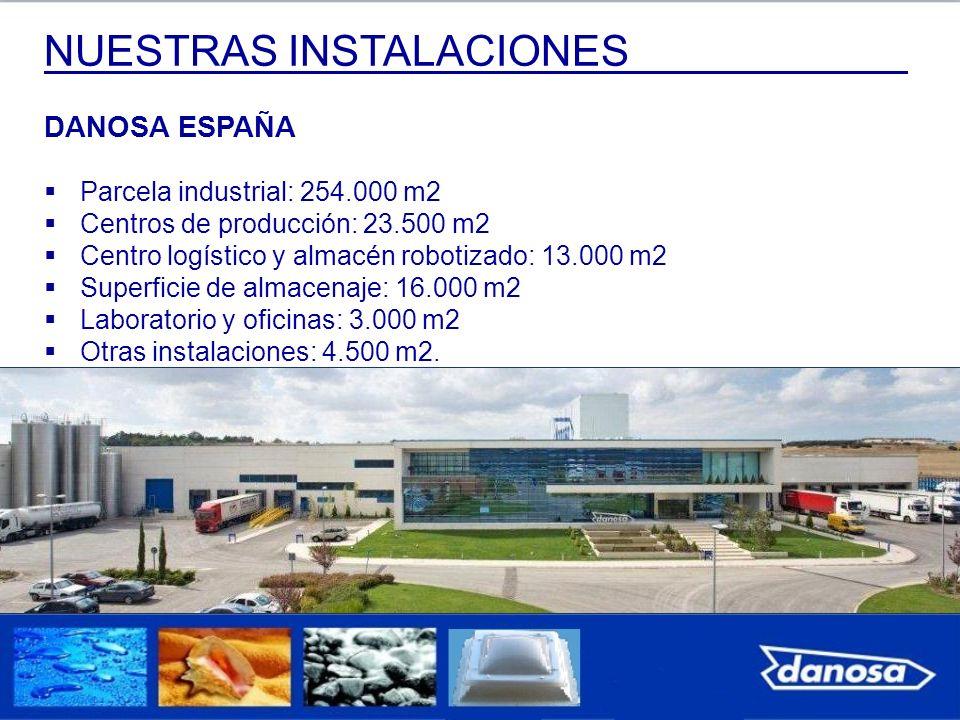 NUESTRAS INSTALACIONES DANOSA ESPAÑA Parcela industrial: 254.000 m2 Centros de producción: 23.500 m2 Centro logístico y almacén robotizado: 13.000 m2