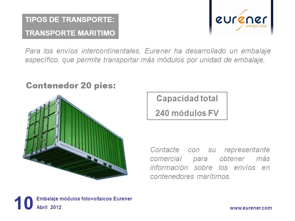 Contenedor 20 pies: Capacidad total 240 módulos FV 10 www.eurener.com TIPOS DE TRANSPORTE: TRANSPORTE MARITIMO Embalaje módulos fotovoltaicos Eurener