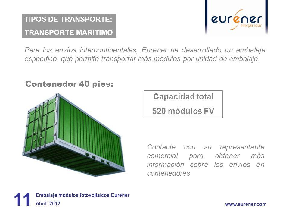 Contenedor 40 pies: Capacidad total 520 módulos FV 11 www.eurener.com TIPOS DE TRANSPORTE: TRANSPORTE MARITIMO Embalaje módulos fotovoltaicos Eurener