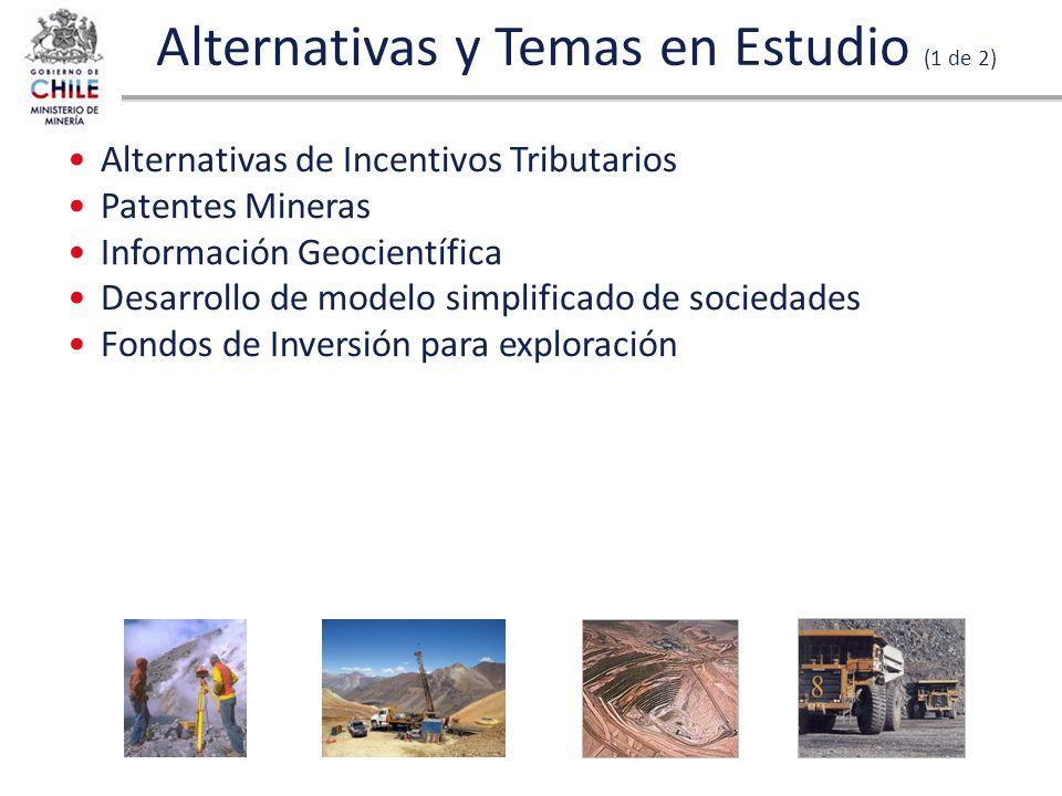 Alternativas y Temas en Estudio (1 de 2) Alternativas de Incentivos Tributarios Patentes Mineras Información Geocientífica Desarrollo de modelo simpli