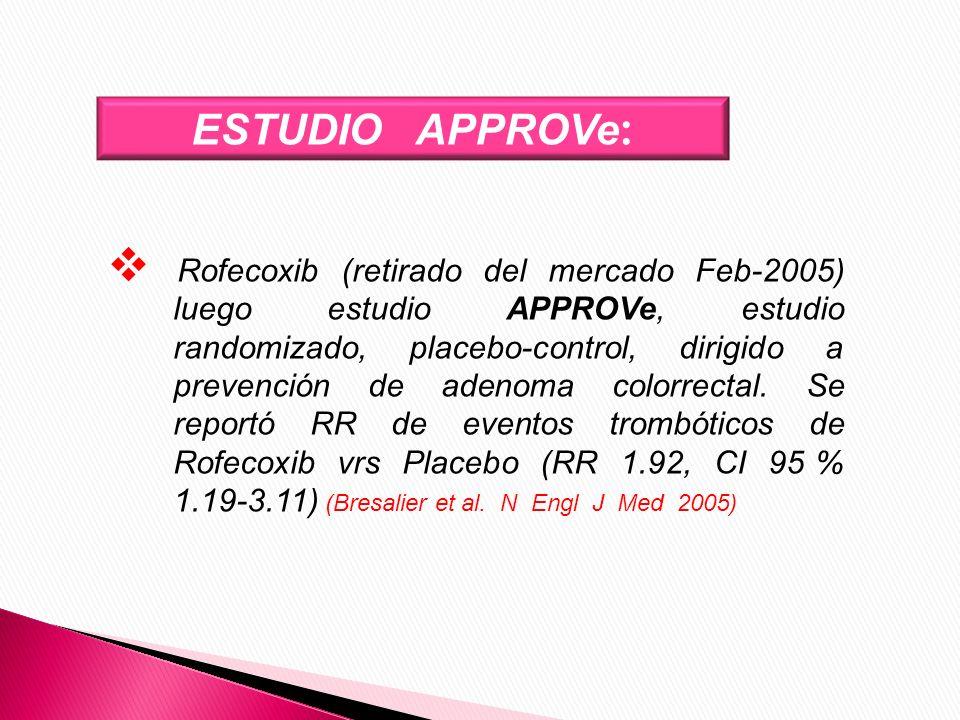 ESTUDIO APPROVe : Rofecoxib (retirado del mercado Feb-2005) luego estudio APPROVe, estudio randomizado, placebo-control, dirigido a prevención de aden
