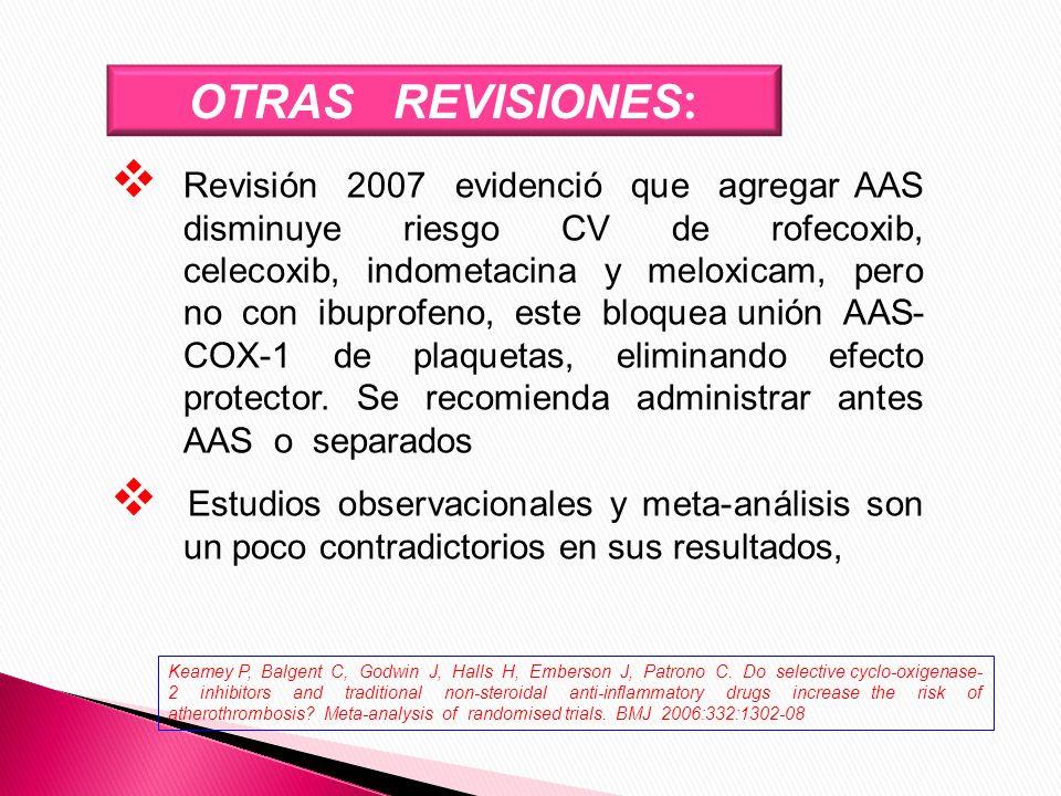 OTRAS REVISIONES : Revisión 2007 evidenció que agregar AAS disminuye riesgo CV de rofecoxib, celecoxib, indometacina y meloxicam, pero no con ibuprofe