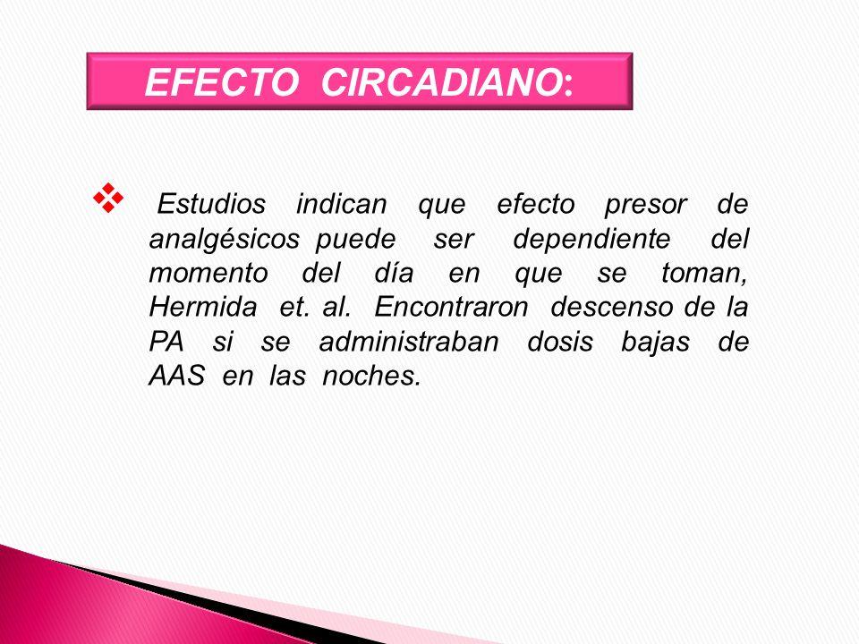 EFECTO CIRCADIANO : Estudios indican que efecto presor de analgésicos puede ser dependiente del momento del día en que se toman, Hermida et. al. Encon
