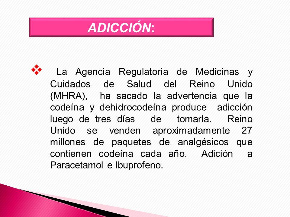 ADICCIÓN : La Agencia Regulatoria de Medicinas y Cuidados de Salud del Reino Unido (MHRA), ha sacado la advertencia que la codeína y dehidrocodeína pr