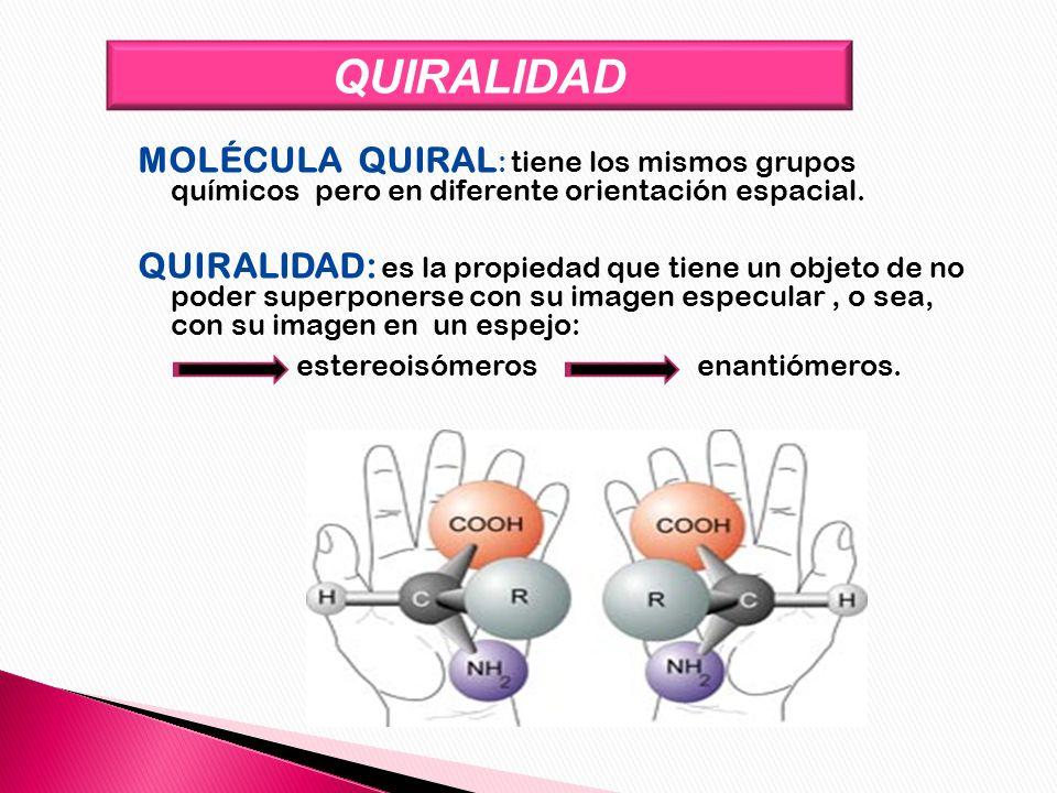 QUIRALIDAD MOLÉCULA QUIRAL : tiene los mismos grupos químicos pero en diferente orientación espacial. QUIRALIDAD: es la propiedad que tiene un objeto